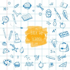 Back to School. Hand-drawn objects for school theme.