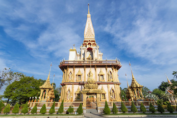 Pagoda of Wat Chalong (or formally Wat Chaiyathararam) - the most important of the 29 buddhist temples of Phuket, located in the Chalong Subdistrict, Mueang Phuket District, Thailand