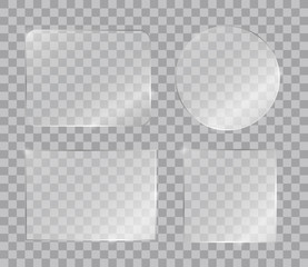 Set of vector shiny glass panels for your text or design isolated on transparent background
