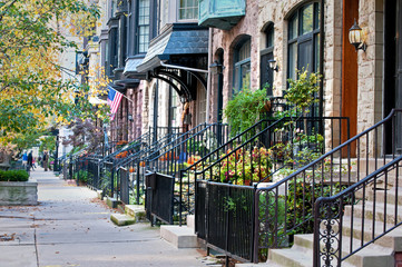 Photo sur Toile Chicago City Life. Row houses in one of Chicago's many upscale neighborhoods.