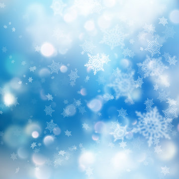 Winter Bokeh Background with Blurred Snowflakes. EPS 10 vector