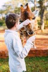 Young boy feeding giraffes in Africa