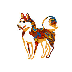 Vector illustration of a dog, symbol of 2018 on the Chinese calendar.