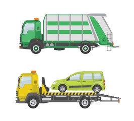 Garbage truck and  tow truck isolated on white background. Vector illustration.
