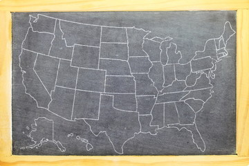 us or usa or American map on blackboard frame