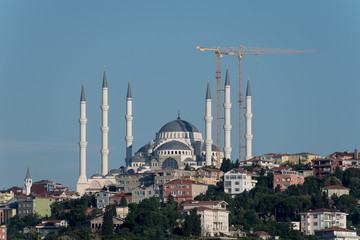 Construction of one of the largest mosques in the world - Camlica Mosque in Istanbul