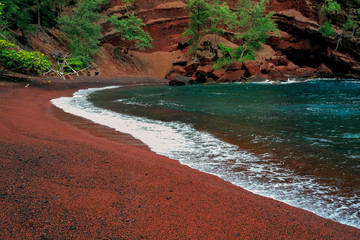 Hawaii Maui Hana Kaihalulu red sand beach
