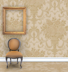Wall  With Rich Tan Damask Wallpaper and Room For Text