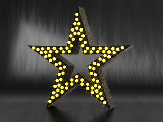Retro black star with light bulbs on black leather background. 3d illustration