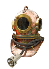 Metal helmet of the diver.