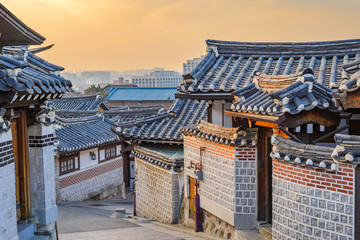 Seoul sunrise city skyline at Bukchon Hanok Village, Seoul, South Korea