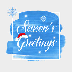 'Season's Greetings' holiday sign text over abstract blue brush paint background vector illustration.