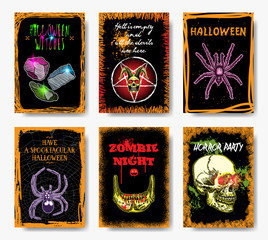 Set of Halloween holidays. Hand drawn flyer posters and greeting card with handwritten calligraphy words quotes and phrases. Vector.