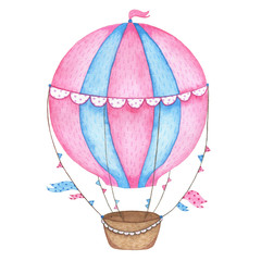 Watercolor hand painted hot air balloon isolated on white background