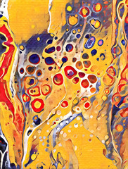 Abstract acrylic flat painting with cell