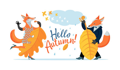 Color cartoon set, drawing - cute wild foxes celebrate coming of autumn. Fox female sings, dances, fox plays melody on double bass, on background of text - Hello, Autumn. Vector isolated illustration.