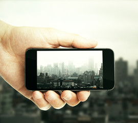City picture with smartphone