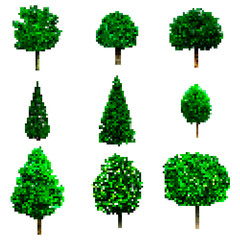Pixel art trees collection isolated on white. vector trees set