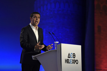Greek Prime Minister Alexis Tsipras delivers a speech during the opening of the annual International Trade Fair of Thessaloniki, in Thessaloniki