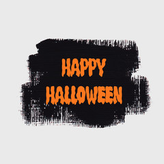 Happy Halloween sign text over brush paint abstract background vector illustration. Halloween poster, invitation or banner.