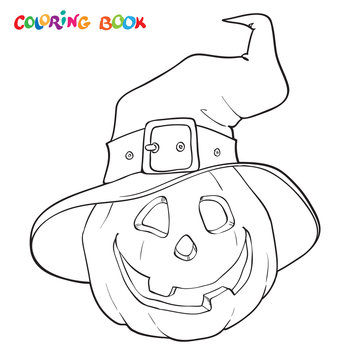 Halloween coloring book. Pumpkin in the hat.