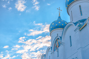 Closeup of the cupolas of Dormition Cathedral in the Trinity Lavra of St. Sergius in Sergiev Posad