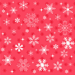 Winter snowflakes red background