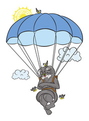 A disgruntled cat is flying on a parachute.