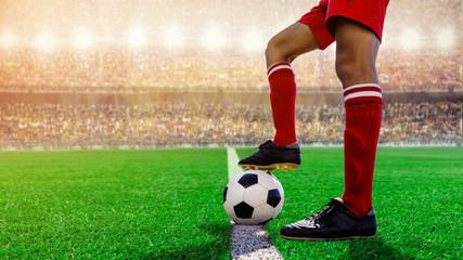 soccer football kick-off in the stadium