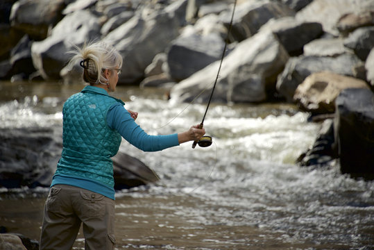 Woman fly fishes the Big Thompson River in Colorado.