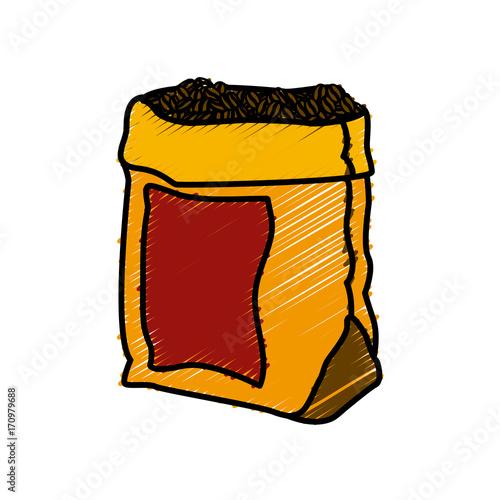Coffee Bean Bag Icon Vector Illustration Graphic Design Stock Image