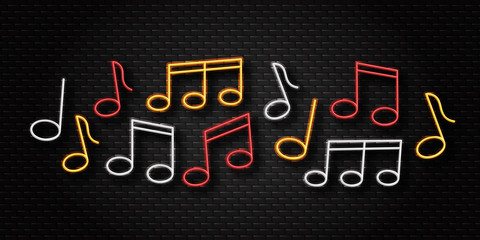 Vector realistic isolated neon retro sign of notes for decoration and covering on the wall background. Concept of music, jazz and dj