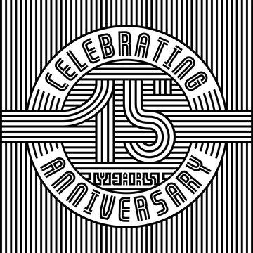 15 years anniversary logo. Vector and illustration. Line art anniversary design template.