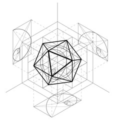 Sacred Geometry construction of the icosahedron. Geometric abstract vector background