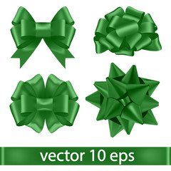 Set of green bows.Vector decorative elements of the tape.