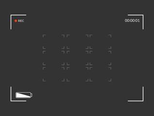 White and black viewfinder camera recording. Modern camera focusing screen. Vector illustration