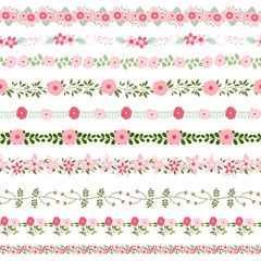 Vector floral borders in pink and green colors - could be connected seamlessly