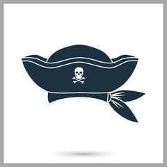 Pirate captain hat simple icon