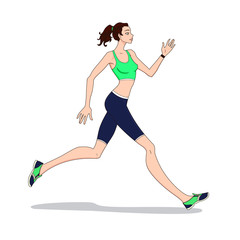 Young woman athlete jogging. Running female. Vector illustration.