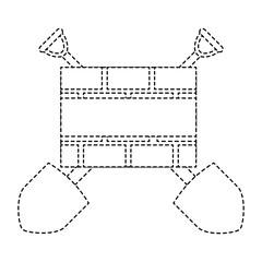 shovel with construction bricks wall vector illustration design
