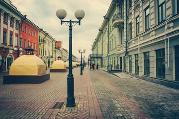 Lanterns on the main pedestrian street of Bauman in Kazan, Russia. Foto with vintage, instagram effect