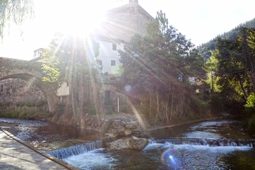 River in Potes, a village in peaks of Europe, Spain