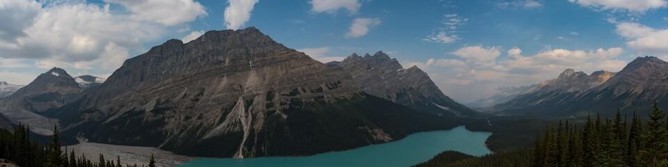 Panoramic view of  Peyto Lake and Caldron Peak - Banff National Park, Alberta, Canada