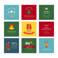 christmas ornament and decoration background design. icon set vector.