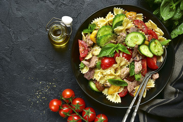 Tuna salad with pasta and vegetables.Top view.