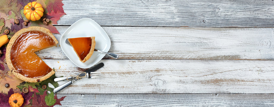 Homemade pumpkin pie served for the Autumn holidays