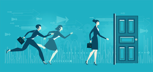 Young women running to get the professional opportunity. Competition concept illustration.