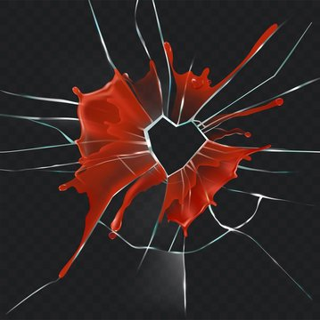 Damaged and cracked glass with hole in shape of heart in center, dripping blood splash realistic vector illustration on transparent background. Broken heart, break in relations, heart attack concept