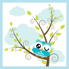 Vector cartoon illustration with cute owl on tree branch and cloud background suitable for kid t-shirt graphic design, backdrop and wallpaper