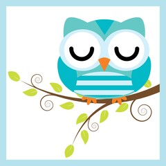 Vector cartoon illustration with cute owl sleep on tree branch suitable for kid t-shirt graphic design, backdrop and wallpaper